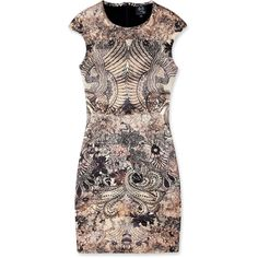 McQ Alexander McQueen Griffin Placement Print Cap Sleeve Jersey Dress ($323) ❤ liked on Polyvore