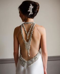 How gorgeous is that blingy back? Our #PninaBride Annemarie is rocking it! VIA @kirkbrides : @genevievenislyphoto