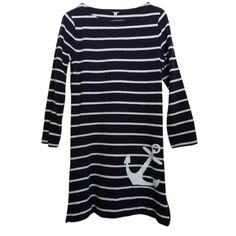 JCREW nautical dress Blue/white stripped, casual, long sleeve dress. It has a zipper slit on left side. Great condition! jcrew  Dresses Long Sleeve