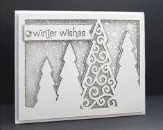 Fichier silhouette gratuit sapin de Noël enneigés