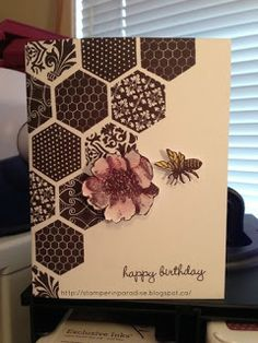 "handmade birthdaay card ... stamped hexagons fill a diagonal half ... luv the fill designs on these hexagons from Close to My Heart stamps ... dark chocolate ink on kraft ... little stamped bee ... sweet card in ""masculine"" colors and design ..."