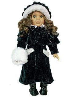 """1914 Style Velvet Outerwear Complete Outfit, 18"""" Doll Clothes fits American Girl Doll Clothes by The Queen's Treasures. $19.99. Beautifully detailed 1914 style outerwear designed and manufactured by us, The Queen's Treasures. Fabulous deep green velvet coat with faux fur trim and matching hat and cape will look wonderful on any doll. Designed and manufactured by The Queen's Treasures. Attractively packaged in a reusable garment bag and hanger for safe keeping. Doll clothes s..."""