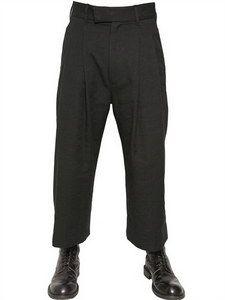 Ann Demeulemeester - Wool/linen Gabardine Wide Leg Trousers | FashionJug.com
