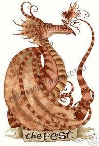 The Pest, Note Card #amybrown #dragon #fantasyart