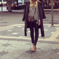 Today... #sambag leather pants #watsonandwatson jacket #h&m knit #louisvuitton bag #aquazzura flats