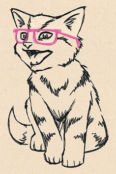 """This free embroidery design is called """"Hip Kitty"""".  Thanks to Urban Threads for posting it."""