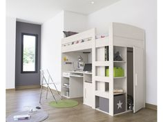 Loft Mezzanine Bed - White Ash