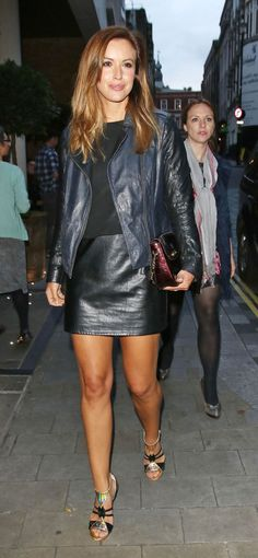 Black leather skirt and jacket outfit
