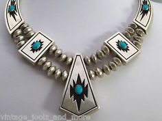 Native American Sterling Silver Turquoise Showpiece Necklace Alvin Begay Signed