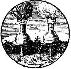Two flasks with layers of liquid are seen standing upon stools, both of which emit fumes, those from the flask on the left being darker.