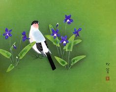 Cherry Blossom Season, lithograph by Atsushi UEMURA - Japanese Painting Gallery Japanese Bird, Japanese Things, Japanese Art Styles, Japanese Patterns, Cherry Blossom Season, Cherry Blossoms, White Peacock, Spring Painting, Art Academy