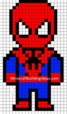 Minecraft Pixel Art Templates: Spiderman