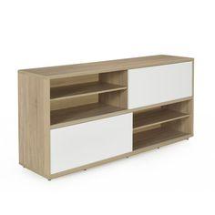 Buffet bas à portes coulissantes design scandinave Blanc / naturel - Checker - Les buffets - Buffets et vaisseliers - Tous les meubles - Décoration d'intérieur - Alinéa
