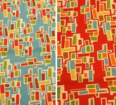 Mod-Century brick fabric - four variations - FREE SHIPPING. $9.99, via Etsy.