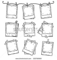Hand drawn vintage photo frame doodle set. All main elements are separate. - stock vector