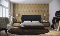 mobilier design de chambres contemporaines revêtement mural