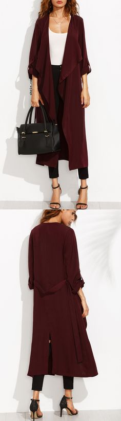 Elegant burgundy trench coat at shein with 40% off 1st order!