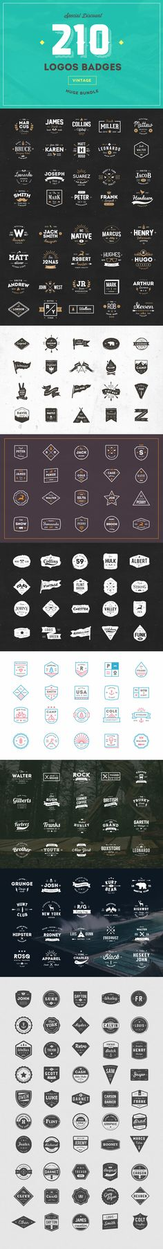 210 Logos Bundle by vuuuds on @creativemarket