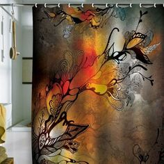 Artistic shower curtain warm colors, browns, rust, grey,white, black