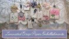 Laminated Scrap Paper Embellishments Book Jewelry, Jewelry Crafts, Paper Crafts, Diy Crafts, Card Making Techniques, Journal Inspiration, Journal Ideas, Journal Covers, Vintage Labels