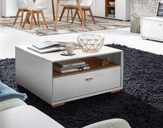 Modern 1 drawer coffee table in choice of oak effect, white pine effect or matt stone