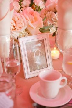 Pink wedding table number - Candace Jeffery Photography