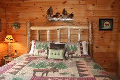 Rustic bedroom in Moose Creek Lodge in the Ozarks at BransonVacationRentalCabins.com