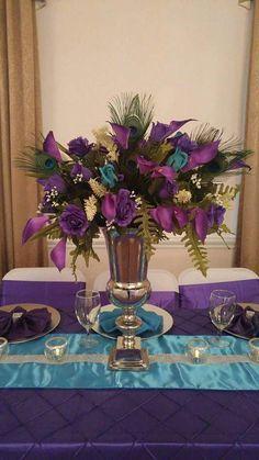 Peacock Themed Wedding Malibu Blue and Purple - 24 New Malibu Blue Wedding Decorations Concept Peacock Wedding Centerpieces, Blue Wedding Decorations, Wedding Themes, Wedding Bouquets, Wedding Flowers, Peacock Themed Wedding, Wedding Ideas, Purple Centerpiece, Themed Weddings