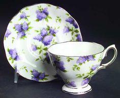 Royal Albert Lilac Lane Platinum Footed Cup & Saucer Set
