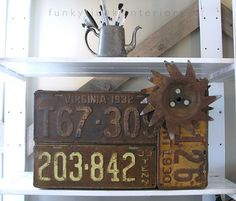 licence plate crafts | Repurposed rusty tags | License Plate Crafts