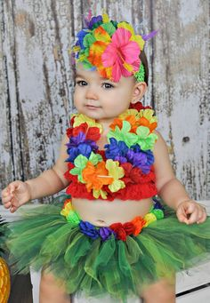 Hawaiian TUTU SET luau party photo prop baby by BowPeepsAndMore, $55.00