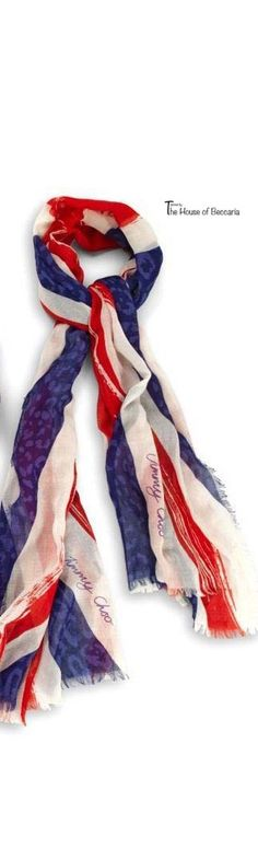 ~Jimmy Choo Union Jack scarf. Jimmy Choo is a British high fashion house founded in 1996 specializing in shoes, handbags, accessories and fragrances   The House of Beccaria