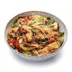 Chicken and Rice Noodle Stir-Fry with Ginger and Basil | MyRecipes.com #myplate