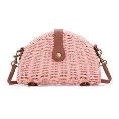 Pink Straw-woven Shoulder Bag With Flap Top - US$21.95 -YOINS