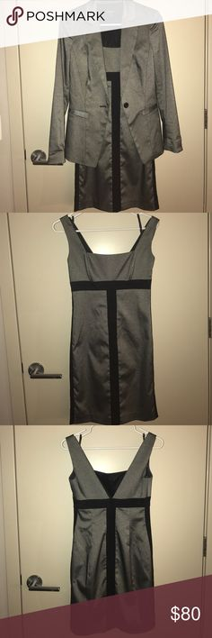 MAJOR STEAL 🎉👗Bebe dress and jacket combo Never Worn! Bebe Gray and Black dress and suit jacket combo size 4- selling both together. This is a perfect work to happy hour/dinner look. Amazingly sophisticated with the jacket, and without the dress alone is a sexy fun look but without being overly sexy bebe Dresses Mini