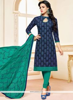 Add grace and charm on your appearance in this navy blue chanderi cotton churidar suit. The wonderful dress creates a dramatic canvas with embroidered work. Comes with matching bottom and dupatta. Chanderi Suits, Cotton Salwar Kameez, Churidar Suits, Patiala Salwar, Churidar Designs, Kurti Neck Designs, Blouse Designs, Indian Gowns Dresses, Indian Outfits