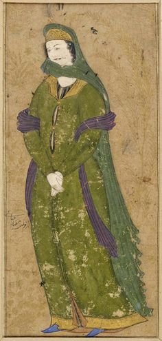 Portrait of a lady in green. Tempera and gold ink on paper. Formerly attributed to: Riza-yi 'Abbasi (falsely) 1600 (circa),  Iran