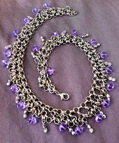 White gold choker with light purple crystals by IronLaceDesign