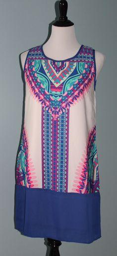Pink and Purple Print Shift Dress