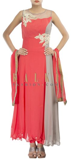 Buy Online from the link below. We ship worldwide (Free Shipping over US$100) http://www.kalkifashion.com/coral-and-grey-straight-fit-suit-adorn-in-zardosi-and-waist-embroidery-only-on-kalki.html