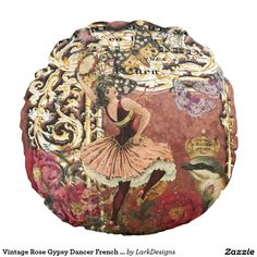 Vintage Rose Gypsy Dancer French Collage Round Pillow