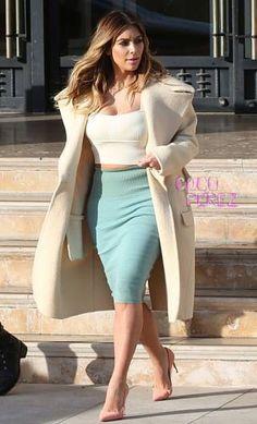 Kim K in Manolo Blahnik shoes and Celine coat.
