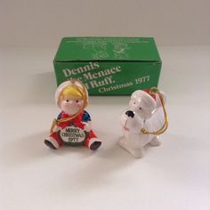 Vintage 1977 Dennis The Menace & Ruff The Dog Holiday Christmas Tree Ornament