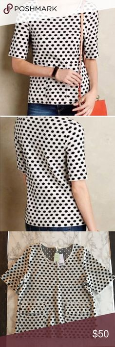 NWT Anthropologie Moth Polka Dot Top Sweater Moth polka dot pull over sweater. Gorgeous detail with large pockets!   Size XL  This is a brand new item with tags. Please feel free to ask questions. Offers are always welcomed! Bundle up to save more! Anthropologie Sweaters