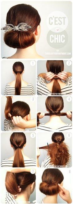 Simple Updo add a big flower to make it a little more girly.