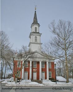 The Western Presbyterian Church on Main Street is one of four churches at the intersection of Main and Canandaigua.