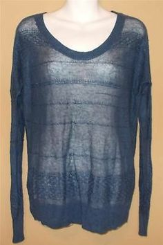 Theory Blue Linen Blend Sheer Knit Sweater Size Medium