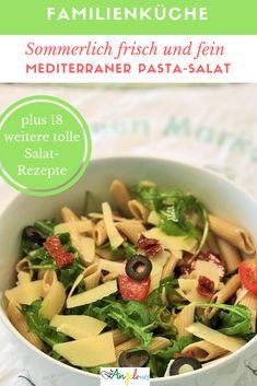 Pastasalat ist sehr beliebt und passt immer, erst recht im Sommer. Ob zum Zmittag oder zum Znacht - Pastasalat ist fein und frisch, macht satt und man kann ihn einfach und schnell auf zahlreiche verschiedene Arten zubereiten! Salat mit Nudeln passt immer auf den Familientisch - Kinder und Erwachsene lieben ihn. #Pasta #Salat #Nudeln #Sommer #mediterran #vegetarisch #Rezept #LaCucinaAngelone #DieAngelones Cantaloupe, Cooking Recipes, Salad, Fruit, Healthy, Ethnic Recipes, Grill, Food, Side Dish Recipes
