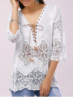 Elegante cuello en V con cordones de 3/4 de ganchillo con paneles de blusa para las mujeres