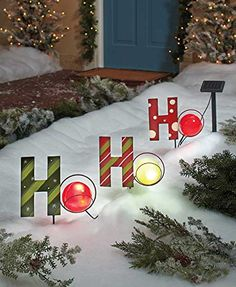 set of 3 ho ho ho solar lighted christmas holiday red green stake garden decoration outdoor yard festive seasonal garden lawn decor